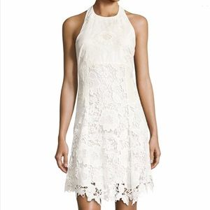 Alice + Olivia Susan white lace halter dress
